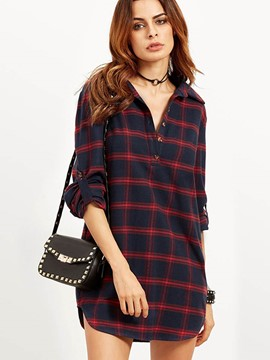 Ericdress Plaid Roll Sleeve V-Neck Blouse