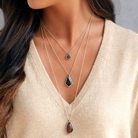 Ericdress Three Layers Irregular Stone Inlaid Necklace