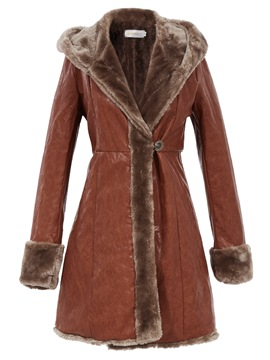 Ericdress One Button Mid-Length Hooded Coat