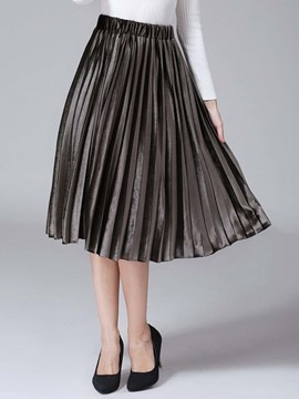 Ericdress Plain Color Pleated High-Waist Skirt