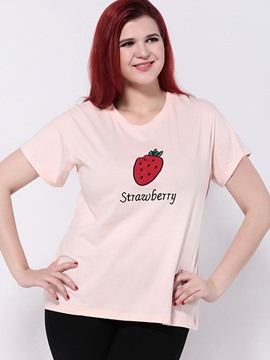 Ericdress Plus Size Strawberry Graphic T-Shirt