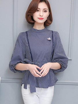 Ericdress Fine Vertical Stripe Belt Blouse