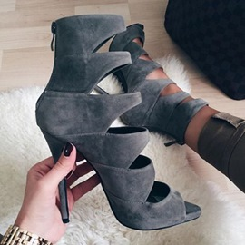 Ericdress Gray Cage Peep Toe Stiletto Sandals