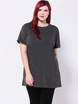 Ericdress Dark Gray Plus Size T-Shirt