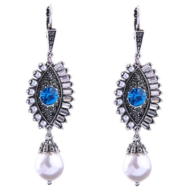 Ericdress Blue Rhinestone Eye Pearl Earrings