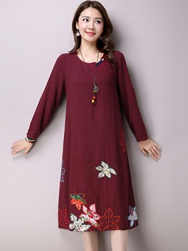 Ericdress Mori Girl Round Collar Embroidery Patchwork Casual Dress