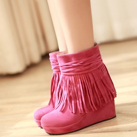 Ericdress Pretty Suede Tassels Wedge Heel Ankle Boots