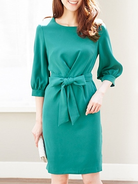 Ericdress Plain Lantern Sleeves Bowknot Sheath Dress