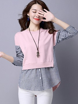 Ericdress Patchwork Button Sweet Knitwear