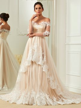 Ericdress Elegant Appliques Off The Shoulder A Line Color Wedding Dress