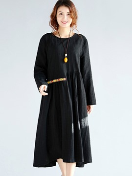 Ericdress Ethnic Round Collar Embroidery Patchwork Pleated Casual Dress