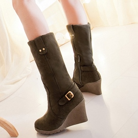Ericdress Charming Suede Wedge Heel Knee High Boots