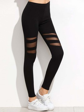 Ericdress Solid Color Mesh See-Through High-Waist Leggings Pants