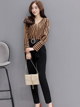 Ericdress Stripe Long Sleeve V-Neck Harem Pants Suit