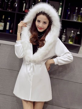 Ericdress Solid Color Faux Fur Collar Slim Hooded Coat