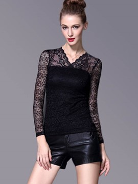 Ericdress Lace Floral Crochet Black Blouse