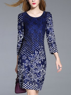 Ericdress Round Collar Print Nine Points Sleeve Bodycon Dress