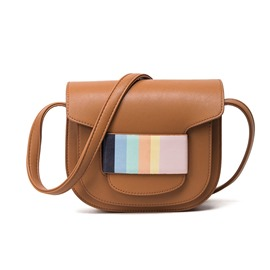 Ericdress Colorful Stripe Saddle Crossbody Bag