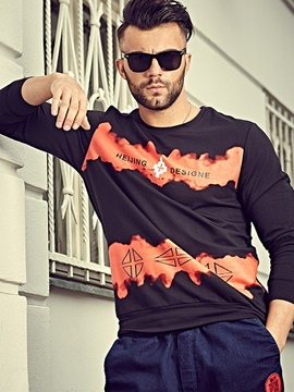 Ericdress Plus Size Color Block Long Sleeve Casual Men's T-Shirt