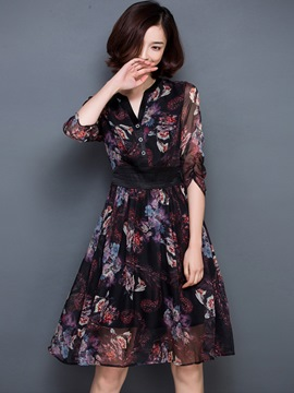 Ericdress V-Neck Single-Breasted Print Belt Patchwork Casual Dress