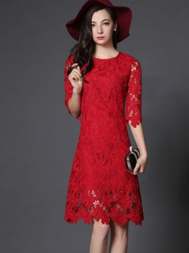 Ericdress Hollow Round Collar Flare Sleeve Lace Dress