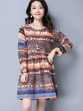 Ericdress Round Collar Colorful Pleated Patchwork Casual Dress
