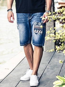 Ericdress Plus Size Patchwork Casual Denim Men's Shorts