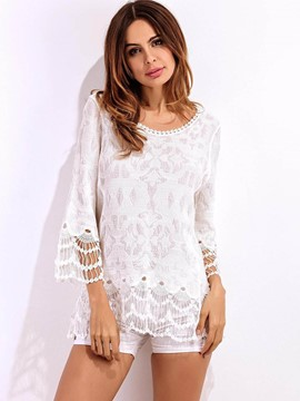 Ericdress White Crochet Three-Quarter Blouse