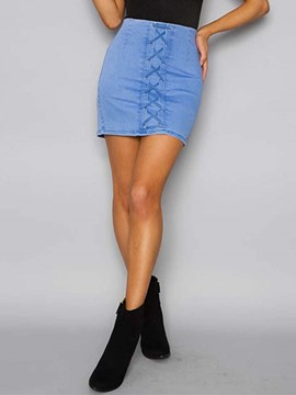 Ericdress Plain Color Lace-Up High-Waist Mini Skirt