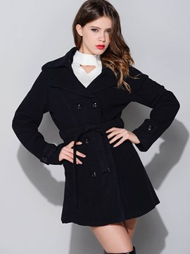 Ericdress Solid Color Lace-Up Loose Coat