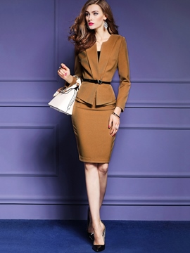 Ericdress Plain Color Asymmetric Long Sleeve Pleated Formal Suit