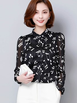 Ericdress Music Graphic Printed Blouse