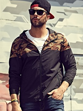 Ericdress Plus Size Loose Camouflage Zip Casual Men's Jacket