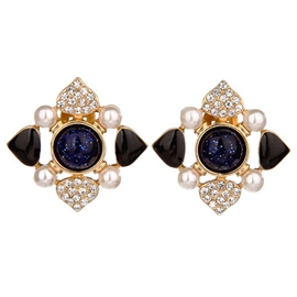 Ericdress Blue Rhinestone Flower Women's Earrings