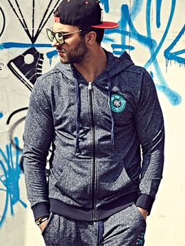 Ericdress Plus Size Solid Color Zip Casual Men's Hoodie