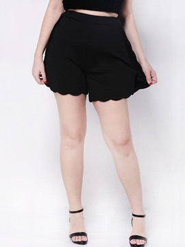 Ericdress Plain Color Wave Cut Straight Shorts Pants