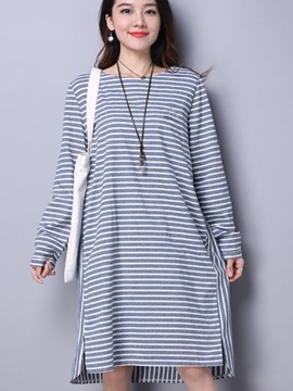 Ericdress Preppy Strip Knee-Length Loose Casual Dress