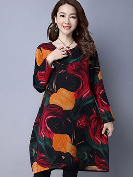 Ericdress Print Round Collar Bud Above Knee Casual Dress