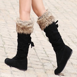 Ericdress Suede Cross Strap Knee High Boots