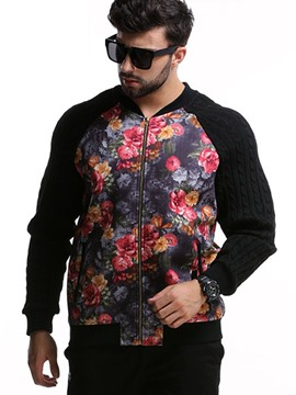 Ericdress Plus Size Floral Print Casual Men's Jacket