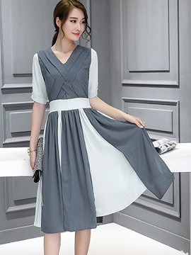 Ericdress Stacked Patchwork V-Neck Pleated Hollow Casual Dress