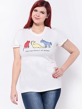 Ericdress Plus Size Cute Cartoon Printed T-Shirt