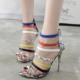 Ericdress Roman Slim Strap Snake Patchwork Stiletto Sandals