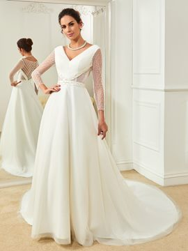 Ericdress Beautiful V Neck Beaded A Line Long Sleeves Wedding Dress