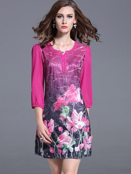 Ericdress Bead Embroidery Print Scoop Casual Dress