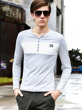 Ericdress Long Sleeve V-Neck Button Men's T-Shirt