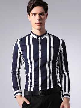Ericdress Long Sleeve Stripe Vogue Slim Men's Shirt