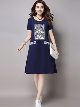 Ericdress Simple Print Patchwork Pocket Trumpet Casual Dress