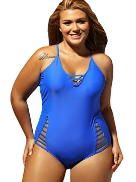 Ericdress Plain Hollow Cross Strap Monokini (Plus Size Available)