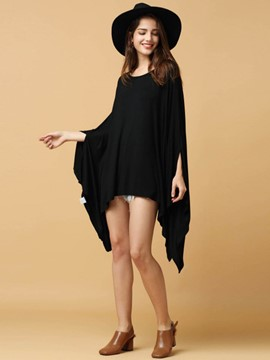 Ericdress Black Batwing Sleeve Irregular T-Shirt